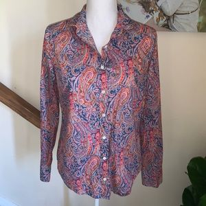 J.crew liberty paisley perfect shirt button down 8